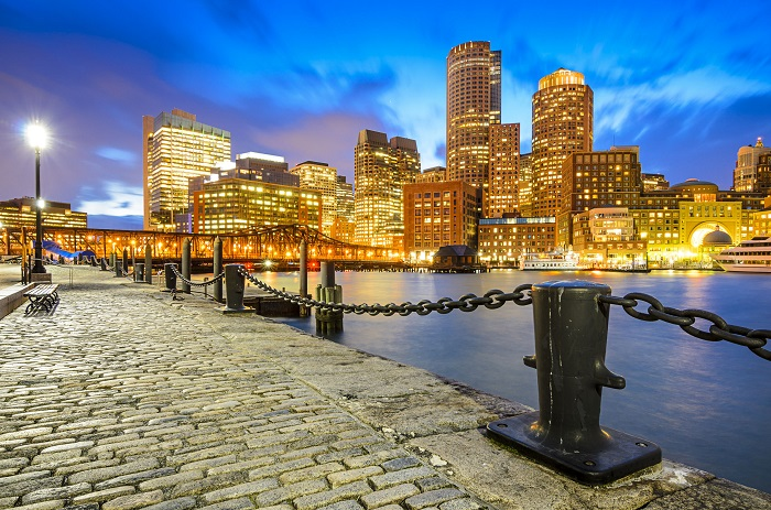Boston, Massachusetts, USA skyline at fan pier