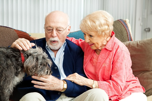 seniors with pet dog
